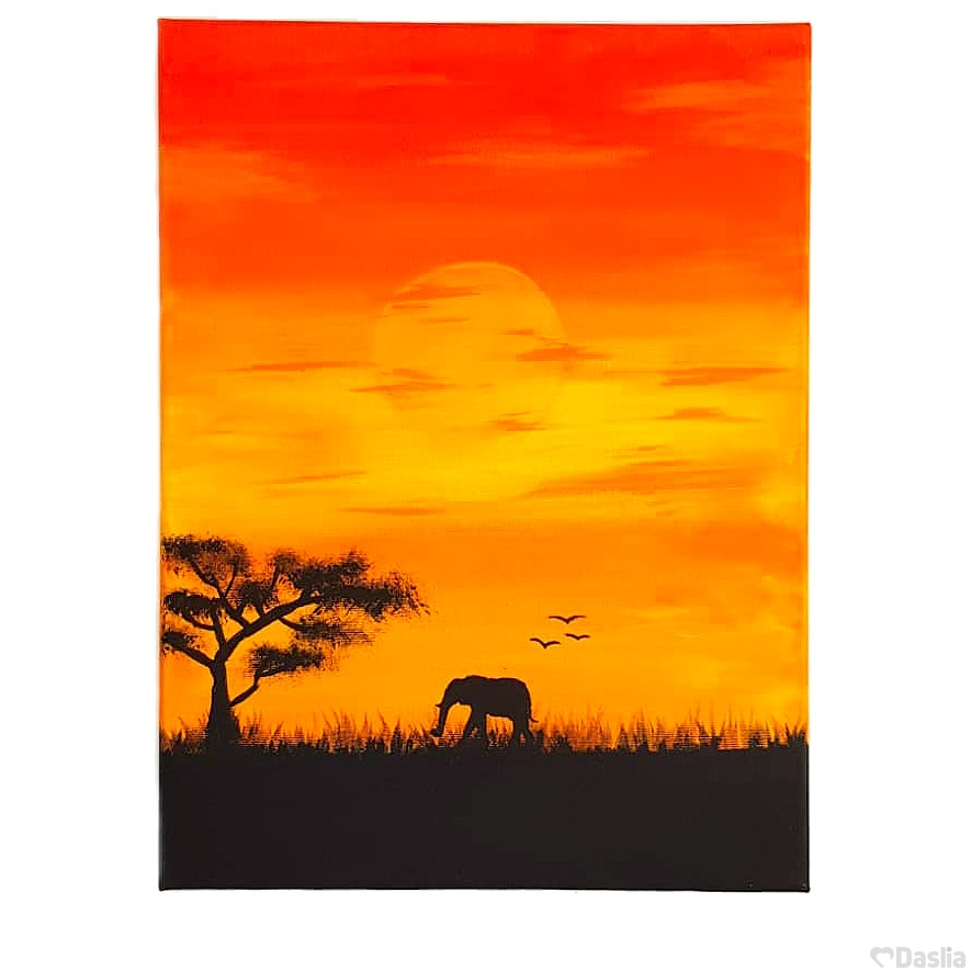 Sunset Savannah Canvas Painting