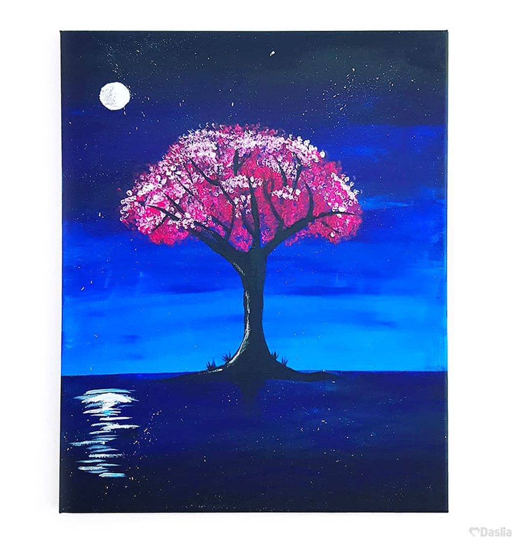 Midnight Blossom Canvas Painting