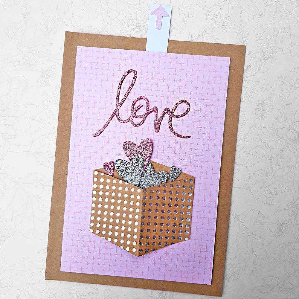 Pull Tab Pink Love Interactive Greetings Card