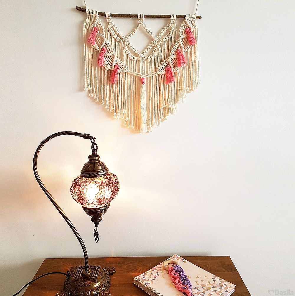 Beige Macramé Wall Hanging With Pink Tassels