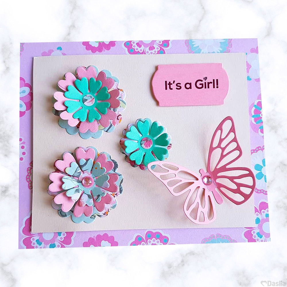 Its a Girl Butterfly Card