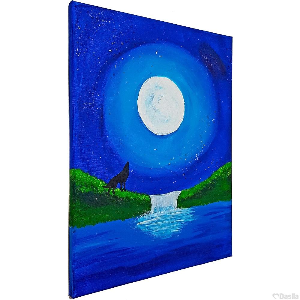 Moonlight Waterfall Painting