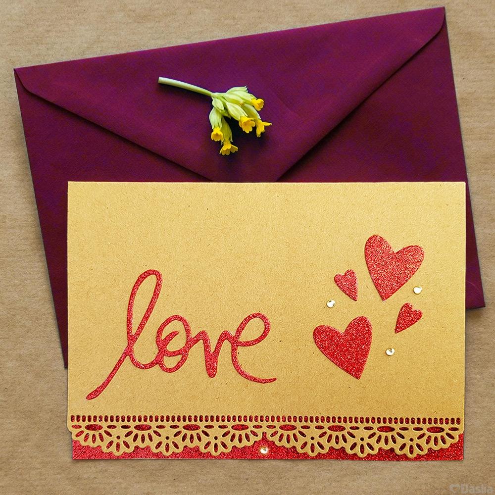 Red Glitter Love Kraft Card with Rhinestones