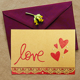 Red Glitter Love Kraft Card with Rhinestones