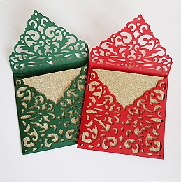 Mini Glitter Cards With Lace Cut Envelopes
