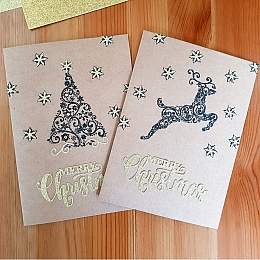 Gold Christmas Tree and Reindeer Cards