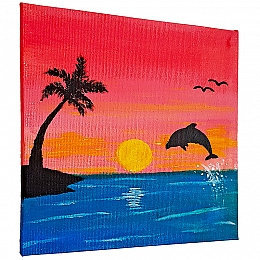 Sunset Island Silhouette Painting